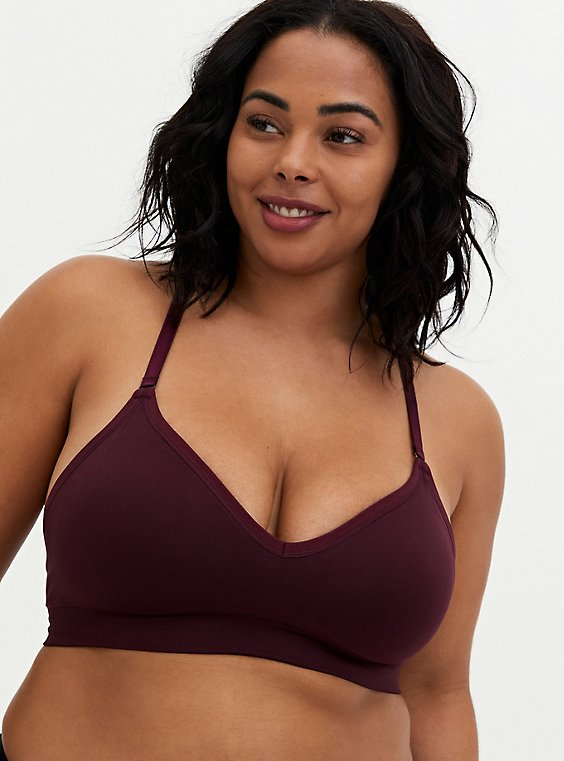 Burgundy Purple Lace Trim Lightly Padded Seamless Flirt Bralette, , hi-res