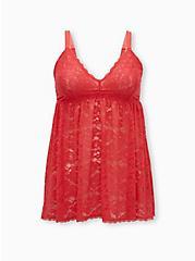 Hot Coral Lace Babydoll, TEA BERRY, hi-res