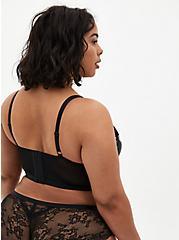 Black Floral Satin & Lace Underwire Longline Bralette, MILLENIAL FLORAL, alternate