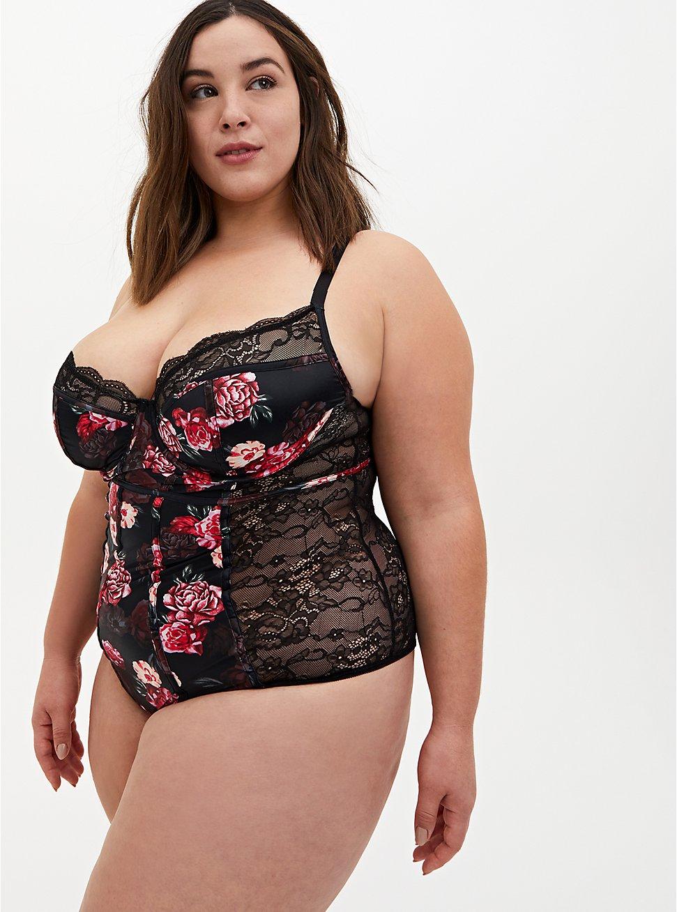 Black Floral Satin & Lace Underwire Bodysuit, MILLENIAL FLORAL, hi-res