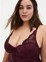 Burgundy Purple Mesh & Lace Underwire Thong Bodysuit, WINETASTING, alternate