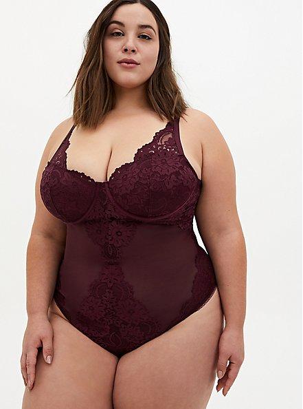 Burgundy Purple Mesh & Lace Underwire Thong Bodysuit, WINETASTING, hi-res
