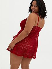 Red Underwire Lace Babydoll, JESTER RED, alternate
