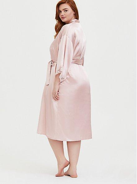 Light Pink Satin & Lace Trim Self-Tie Long Robe , LOTUS, alternate