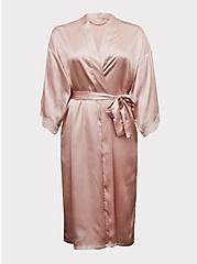 Light Pink Satin & Lace Trim Self-Tie Long Robe , LOTUS, hi-res