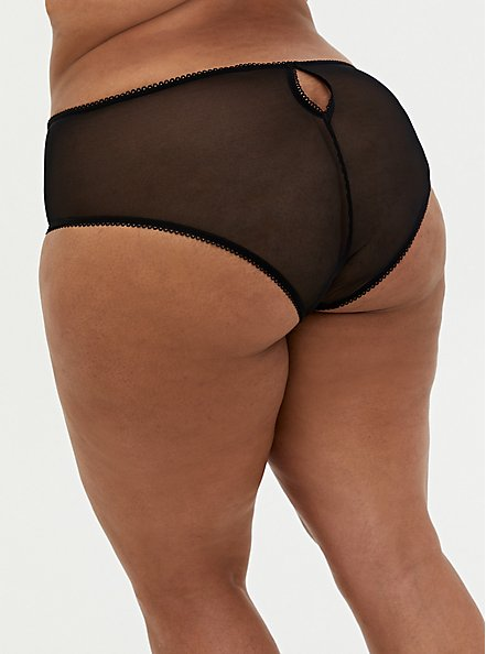 Black & Pink Heart Embroidered Back Slit Hipster Panty, MULTI, alternate