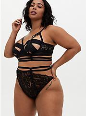 Plus Size Black Lace Cutout Cage High Waist Thong Panty, RICH BLACK, alternate