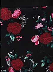 Black Floral Skull Microfiber Cutout Back High Waist Thong Panty , OCTOPUS GARDEN, alternate