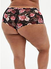 Plus Size Black Floral Lace Cheeky Panty, MILLENIAL FLORAL, alternate