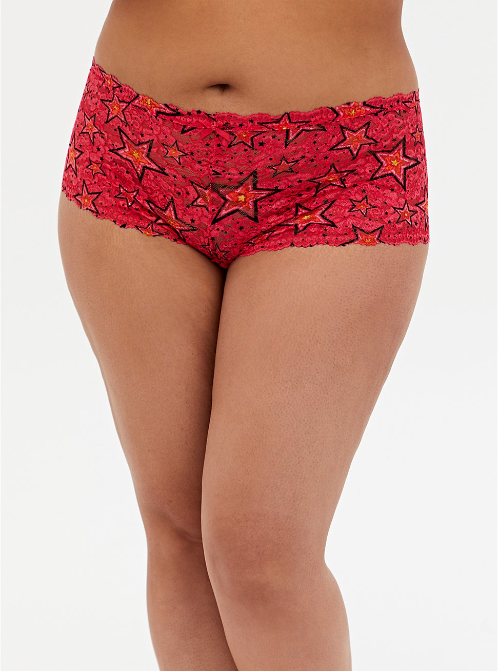 Raspberry Pink Radiant Star Lace Cheeky Panty, RADIANT STARS, hi-res