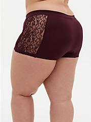 Burgundy Purple Lace Seamless Flirt Boyshort Panty, WINETASTING, alternate
