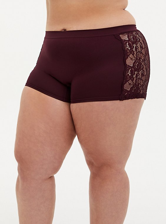 Burgundy Purple Lace Seamless Flirt Boyshort Panty, , hi-res