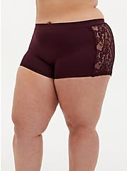 Burgundy Purple Lace Seamless Flirt Boyshort Panty, WINETASTING, hi-res