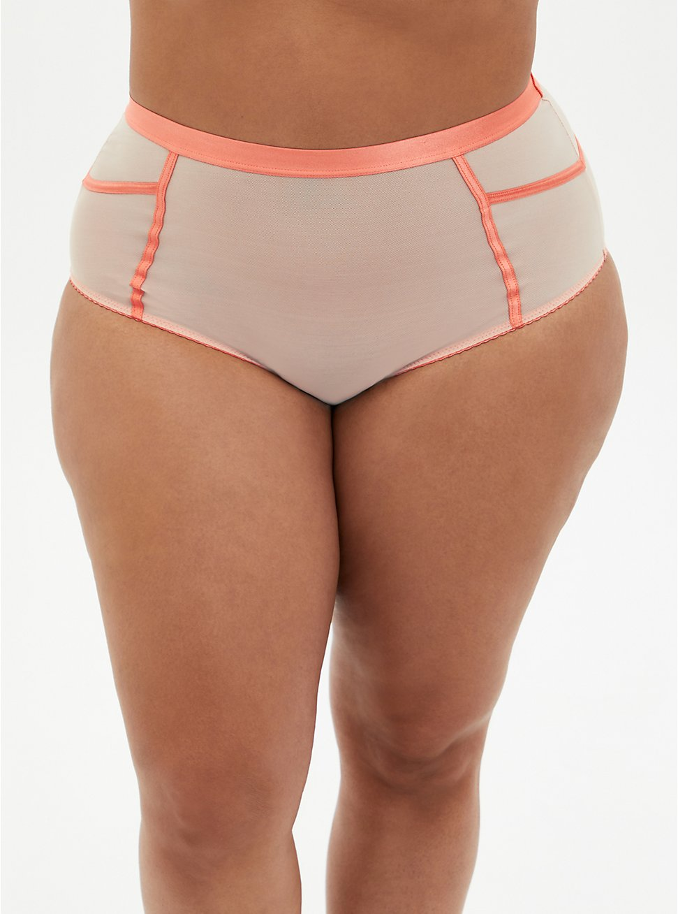 Plus Size Dusty Coral Mesh High Waist Panty, DESERT FLORAL, hi-res