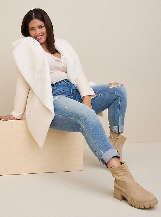 White Faux Suede & Faux Fur Drape Front Jacket, , hi-res