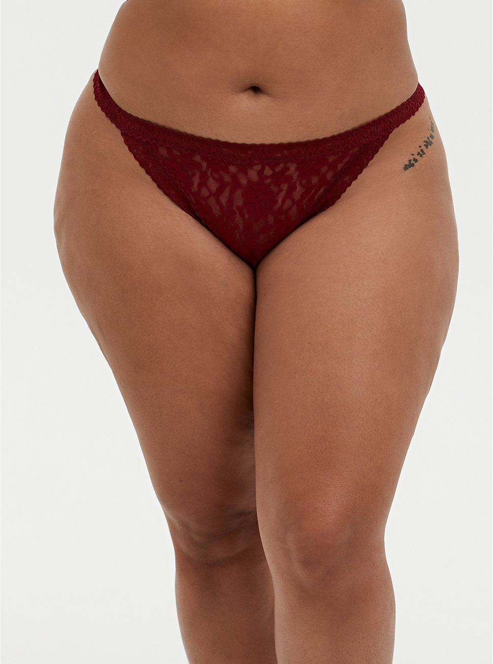 Dark Red Lace G-String Panty, BIKING RED, hi-res