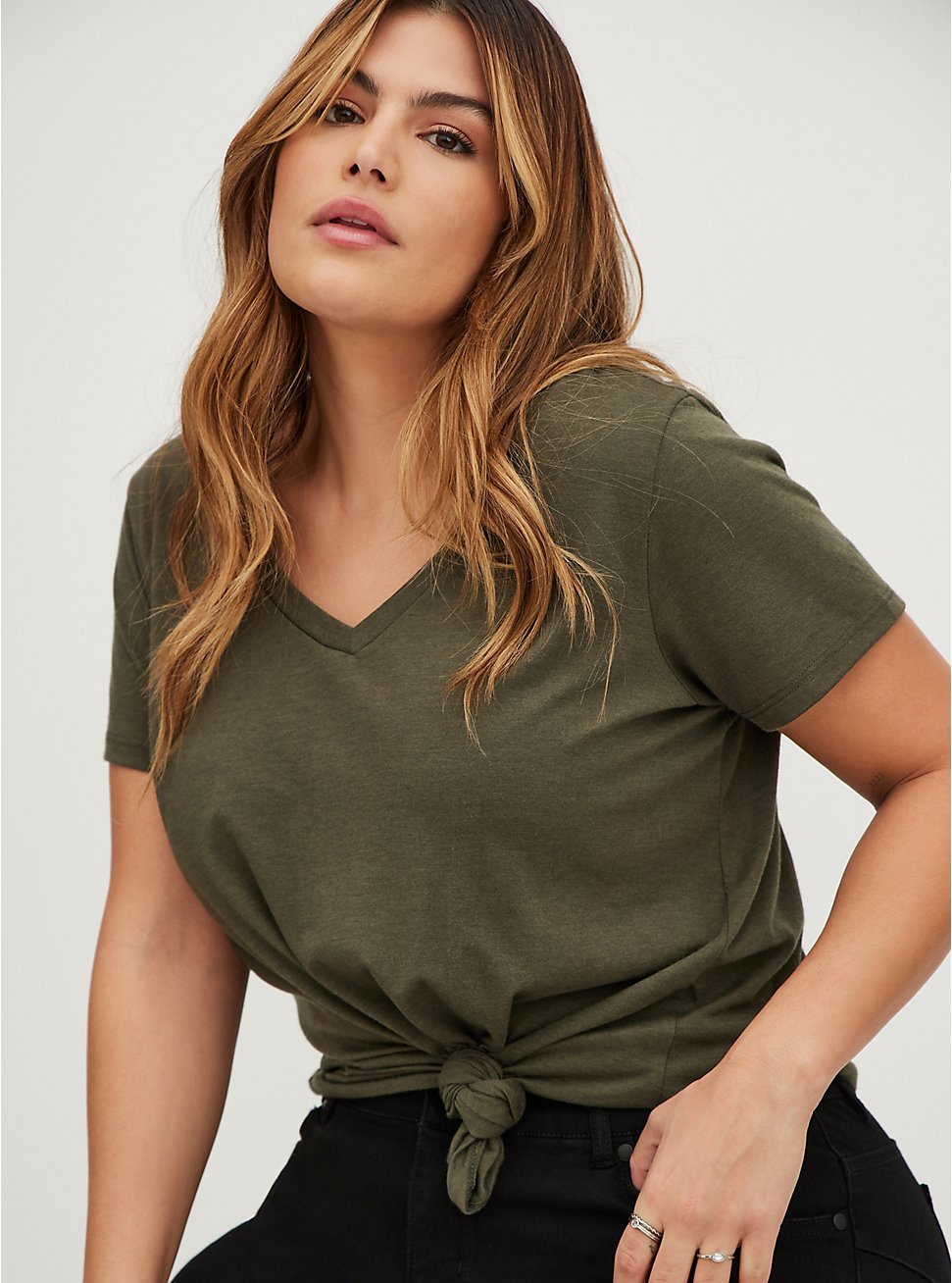 Plus Size Signature Jersey Olive Green V-Neck Tee, DEEP DEPTHS, hi-res