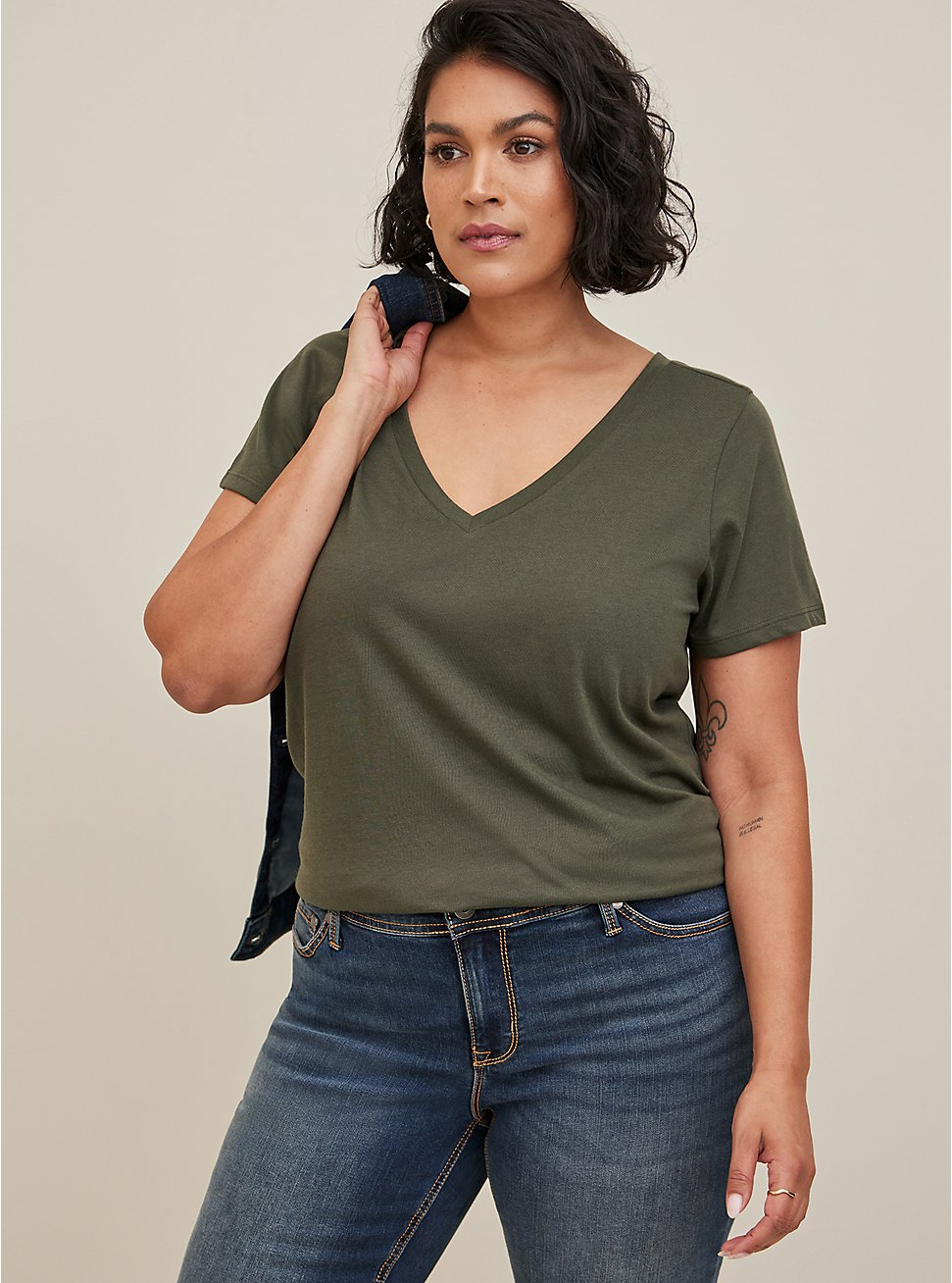 Signature Jersey Olive Green V-Neck Tee, DEEP DEPTHS, hi-res