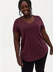 Girlfriend Tee - Signature Jersey Burgundy Purple, WINETASTING, hi-res