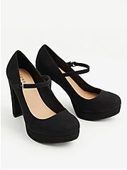 Black Faux Suede Mary Jane Platform Heel (WW), BLACK, alternate