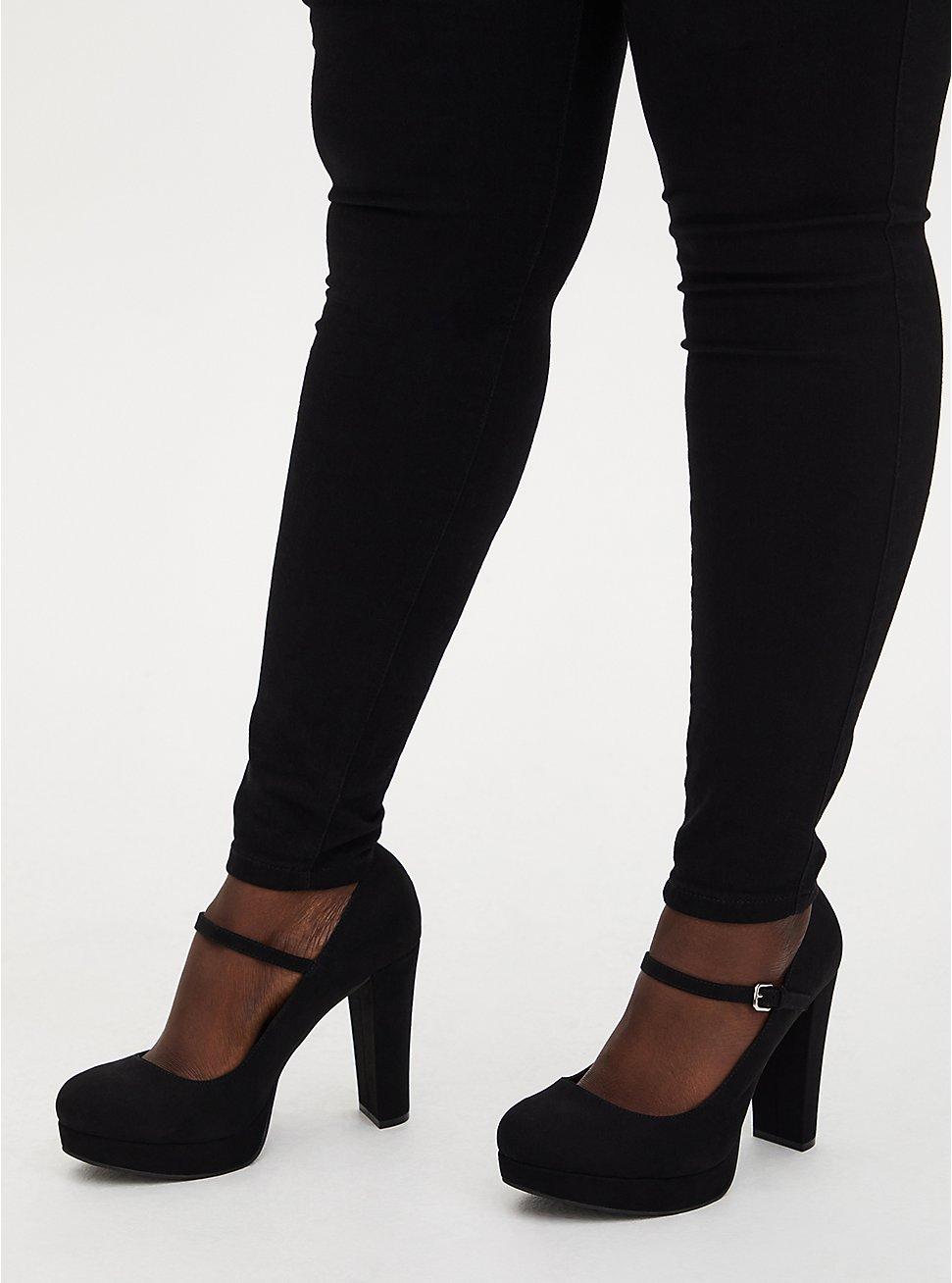 Black Faux Suede Mary Jane Platform Heel (WW), BLACK, hi-res