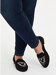 Disney Mickey Mouse Faux Suede & Faux Pearl Black Loafer (WW), BLACK, hi-res