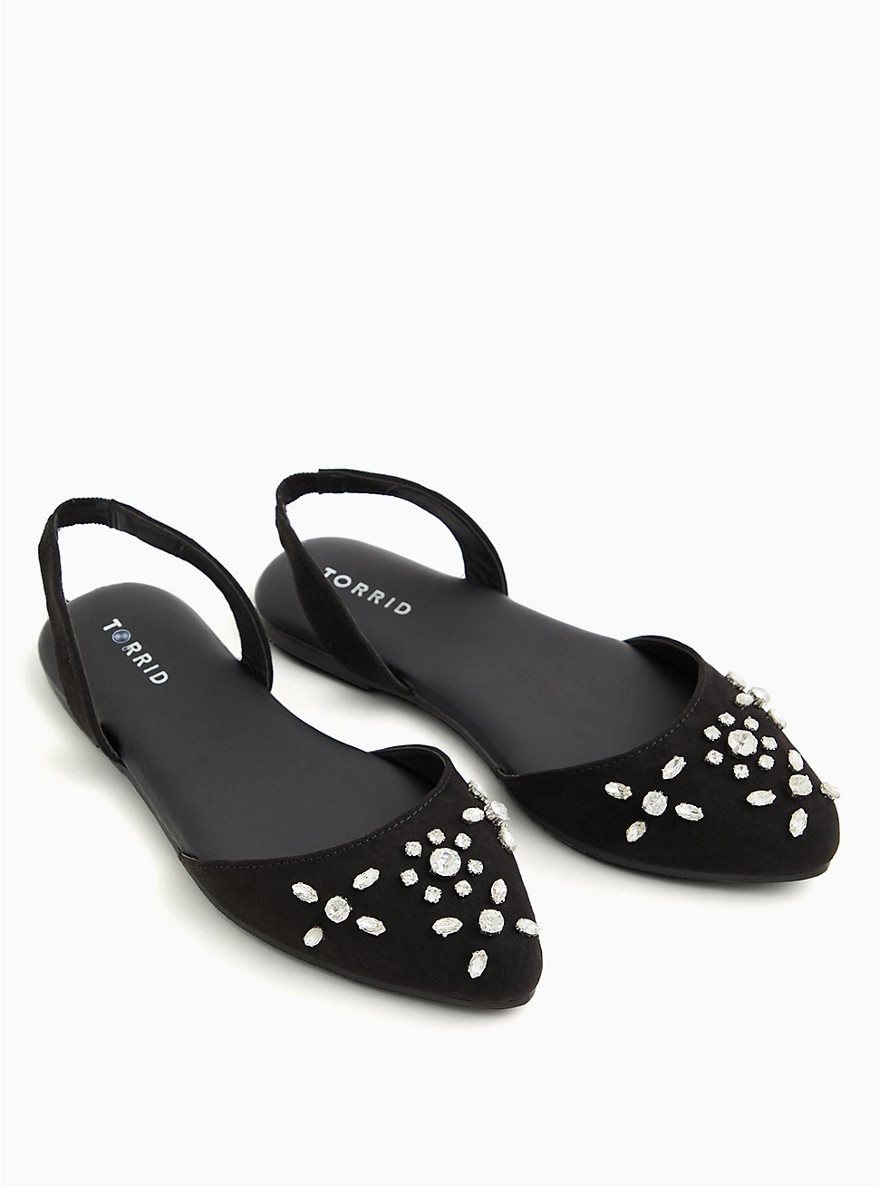 Plus Size Black Embellished Faux-Gem Slingback Flat (WW), BLACK, hi-res