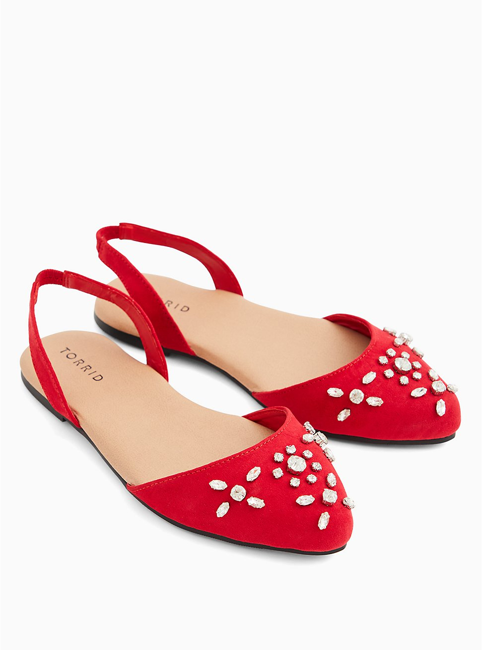 Plus Size Red Faux Suede Embellished Slingback Flat (WW), RED, hi-res