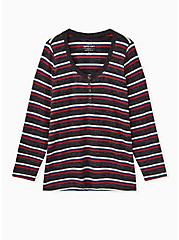 Super Soft Plush Multi Stripe Long Sleeve Henley Tee, MULTI STRIPE, hi-res