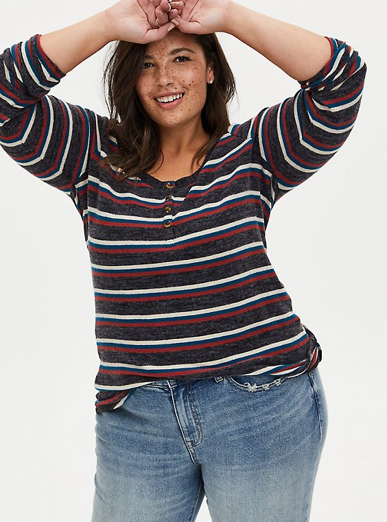 Super Soft Plush Multi Stripe Long Sleeve Henley Tee, , hi-res