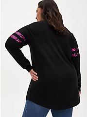 Black Fleece & Pink Sequin Football Tunic Sweatshirt, DEEP BLACK, alternate