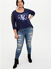 Disney The Little Mermaid Ursula Navy Lattice Sleeve Top, PEACOAT, alternate