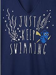 Disney Pixar Finding Nemo Dory Just Keep Swimming Navy Choker Top, MEDIEVAL BLUE, alternate