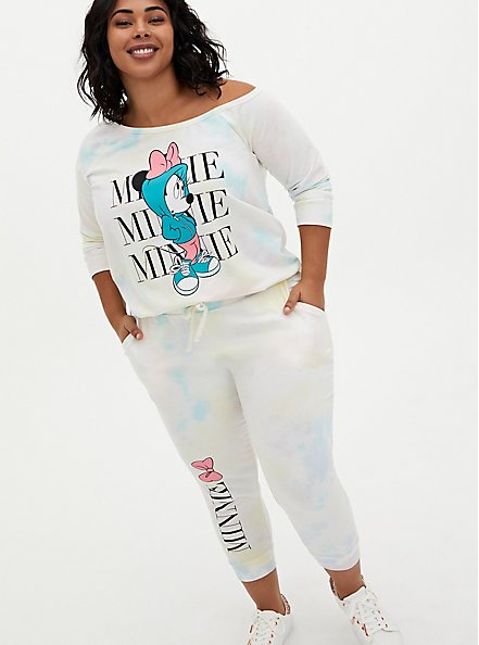 Disney Minnie Mouse Pastel Rainbow Tie-Dye Terry Off Shoulder Sweatshirt, TIE DYE, alternate