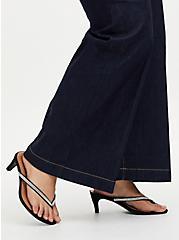 Black Faux Suede Rhinestone Flip-Flop Heel (WW), BLACK, hi-res