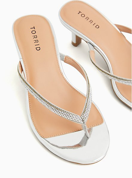 Silver Faux Patent Leather Rhinestone Flip-Flop Heels (WW), SILVER, alternate