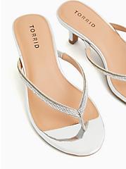 Silver Faux Patent Leather Rhinestone Flip-Flop Heels (WW), SILVER, alternate