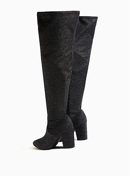 Black Stretch Shimmer Pointed Toe Over-The-Knee Boot (WW), BLACK, alternate