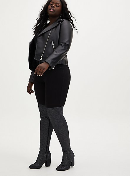 Black Stretch Shimmer Pointed Toe Over-The-Knee Boot (WW), BLACK, hi-res