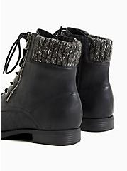 Black Faux Leather Sweater-Trimmed Hiker Boot (WW), BLACK, alternate