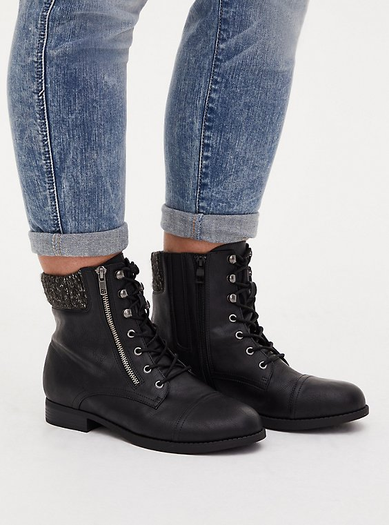 Black Faux Leather Sweater-Trimmed Hiker Boot (WW), , hi-res