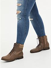 Taupe Faux Leather Sweater-Trimmed Hiker Boot (WW), TAN/BEIGE, hi-res