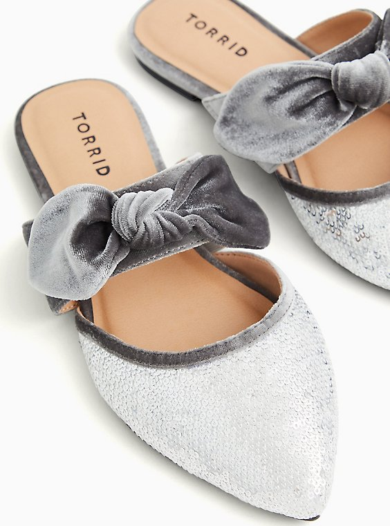 Grey Velvet Bow & Sequin Pointed Toe Mule (WW), GREY, hi-res