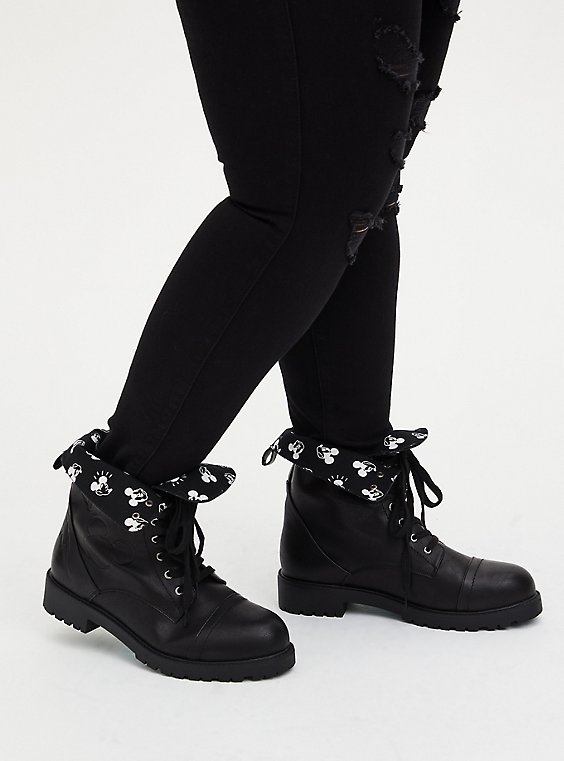Disney Mickey Black Faux Leather Foldover Combat Boot (WW), , hi-res
