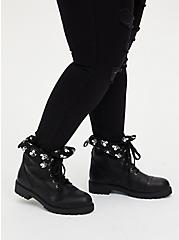 Disney Mickey Black Faux Leather Foldover Combat Boot (WW), BLACK, hi-res