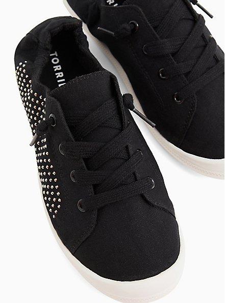 Riley - Black Embellished Ruched Sneaker (WW), BLACK, alternate