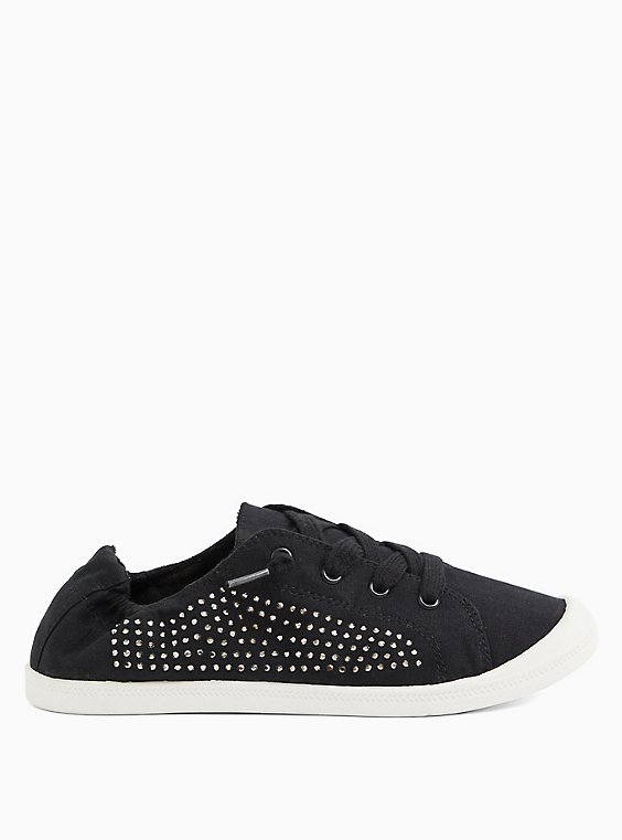 Black Embellished Ruched Sneaker (WW), BLACK, hi-res