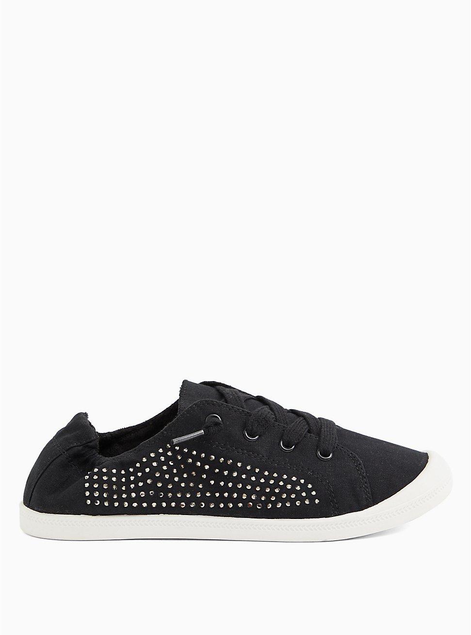 Riley - Black Embellished Ruched Sneaker (WW), BLACK, hi-res