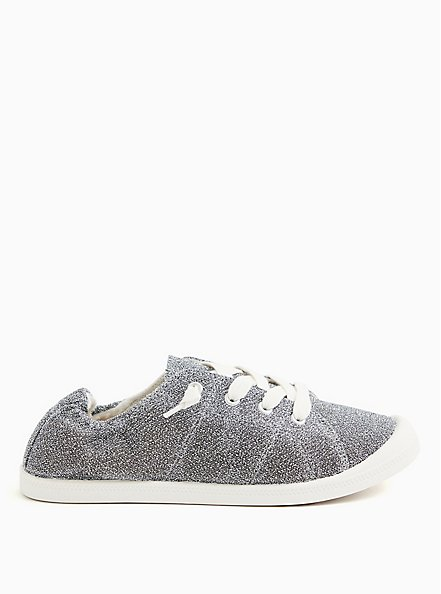 Riley - Silver Shimmer Ruched Sneaker (WW), SILVER, alternate