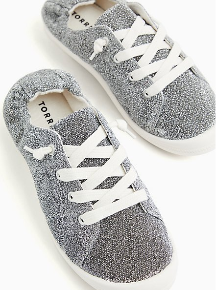 Riley - Silver Shimmer Ruched Sneaker (WW), SILVER, hi-res